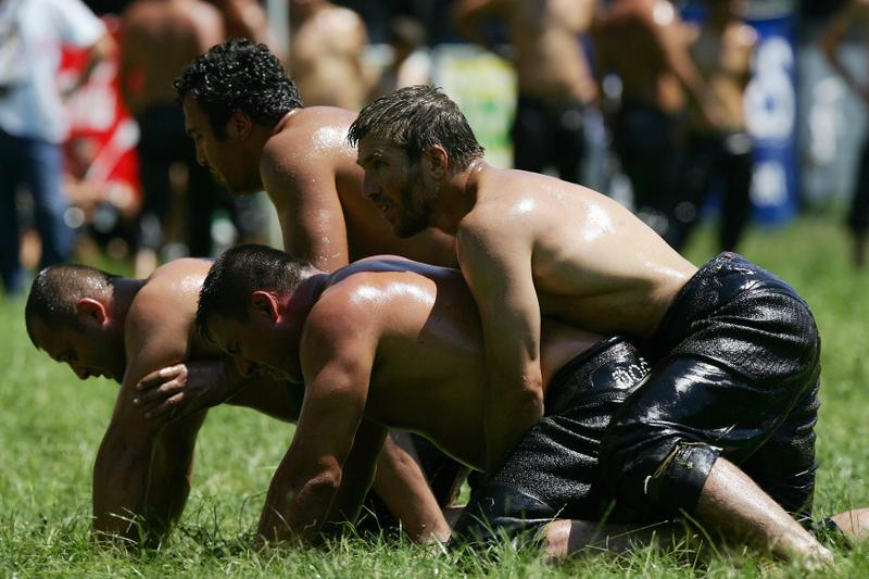 Turkish Oil Wrestling Actions